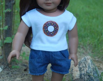 SALE-American Girl Doll inspired clothing/18- inch doll clothes/2-piece outfit/denim shorts/doll shorts/doll t shirt/doll outifit/Donut