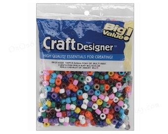 720 Pony Beads, 11 colors, Darice Big Value Craft Designer 6x9mm pony beads. Mul