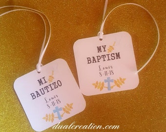 baptism tags/bautizo tags/personiled tags/gift tags/boy/girl/blue/pink
