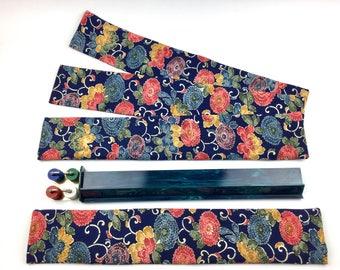 Set of 4 Standard Mahjong Rack Sleeves ~ Japanese Karakusa-Kiku pattern ~ Silk and Cotton ~ Mah Jongg