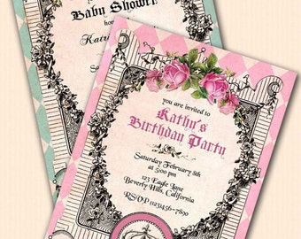 Royal Birthday party invitations. Princess First Birthday. Shabby chic Vintage roses. Pink blue gold DIY printable custom personalized invit