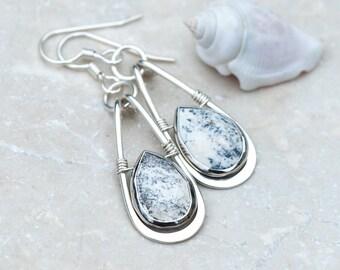 Hammered Silver Earrings, Sterling Silver Hoop Earrings, Dendritic Opal Earrings, Black & White Earrings, Natural Stone, Wire Wrap Earrings
