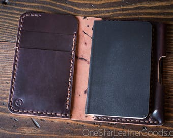 """Small notebook wallet and pen """"Park Sloper Junior"""" Horween shell cordovan leather - burgundy"""