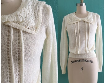 vintage 60's cream knit sweater // vintage jeweled top
