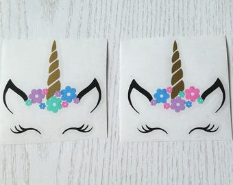 Unicorn face and flowers vinyl transfer x 2 - unicorns gift/glasses/mugs/small plaques