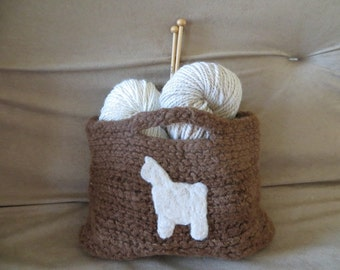 Alpaca Tote, Alpaca Craft Bag Alpaca, Brown Felted Bag