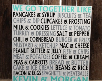 5th Anniversary Gift for Him We Go Together Like Peanut Butter and Jelly Wood Sign Wall Decor Fifth Anniversary Gift for Her Personalize