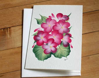 Pink Flowers Greeting Card, Blank Greeting Card, Note Card, Art Card, Any Occasion, Birthday Card, Painting, Envelope, Handmade