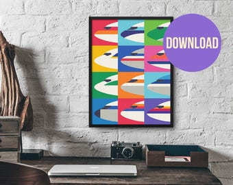 Retro Airline Nose Livery Design Poster Print Wall Art Download