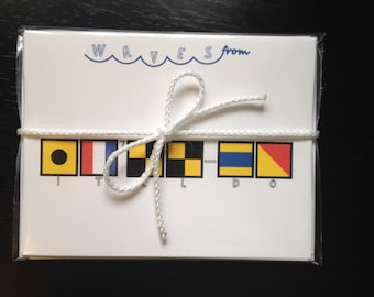 Personalized Nautical Notecards beautifully packaged for gift giving.