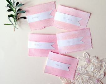 10 personalised wedding place cards, pink table place name cards, watercolour wedding stationery, bridal shower name cards, boho wedding
