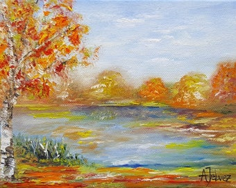 Small painting landscape Tree painting Tree art  Autumn painting Landscape art Autumn leaves Nature art Oil painting by Alina Jelvez 6x8""
