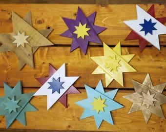 "Big 8 Point Stars, 10"" across, custom colors"