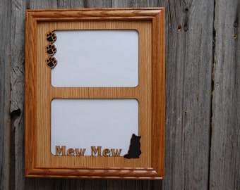 8x10 Personalized Cat Name Picture Frame 2 Openings, Cat Lover Gift, Cat Memorial, Cat Mom Gift, Cat Loss Gift, Laser Engraved Frame