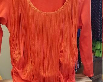 Orange Shirt with Fringe