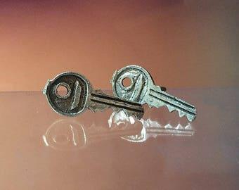 925 Solid Sterling Silver KEY Earrings- Small- Oxidized- Studs/Tools Earrings
