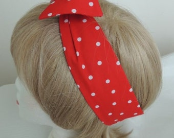 Red Polka Dot Wire Headband, Red Bandana, Twist Head Scarf, Head Band, Dolly Bow, Hat Band, Head Wrap, Hair Tie, Polka Dot Hair Band