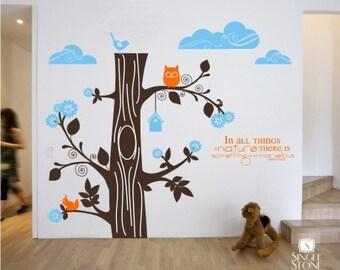 Nursery Tree Wall Decals - Marvelous Nature Kit - Vinyl Text Wall Words Stickers Art Custom Home Decor