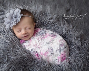 Stretch Lace Wrap in Pink and Grey Floral Print AND/OR Chiffon Flower headband, newborn swaddle, newborn photo, Lil Miss Sweet Pea