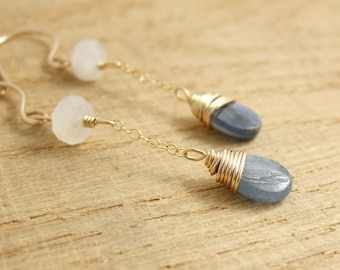 Earrings with Kyanite Quartz Teardrops and Moonstone Beads Wire Wrapped with 14 K Gold Filled Wire to 14 K Gold Filled Cable Chain GCE-9