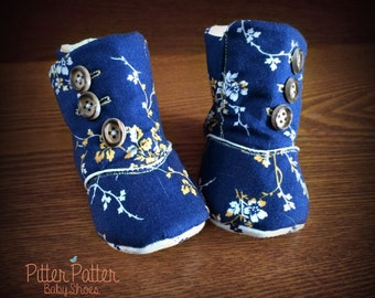 Boho Blue Baby Boots - Blue and Yellow Baby Boots - Vintage Inspired Floral Baby Boots -Baby Girl Shoes -Baby Girl Booties - Yellow and Blue