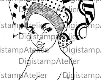 African Headwrap 1. INSTANT DOWNLOAD Digital Digi Stamps