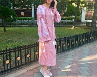 Ukrainian vyshyvanka midi dress - pink soft and thin 100% linen - white geometric ancient slavic embroidery - boho chic ethnic modern folk