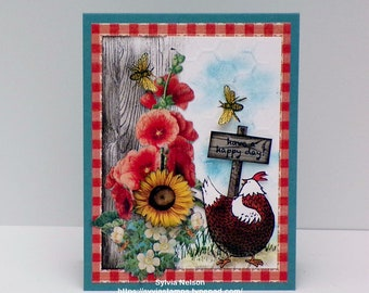 Chicken Card...Birthday Card...Friendship card...Sunflowers, Poppies and chickens...Stampin'Up! stamps...Blank inside