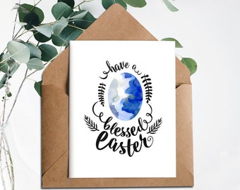 Easter Egg Card, Digital Easter Card, Happy Easter Card, Watercolor Easter, Cute Easter Cards, Have a Blessed Easter, Printable Card, Easter
