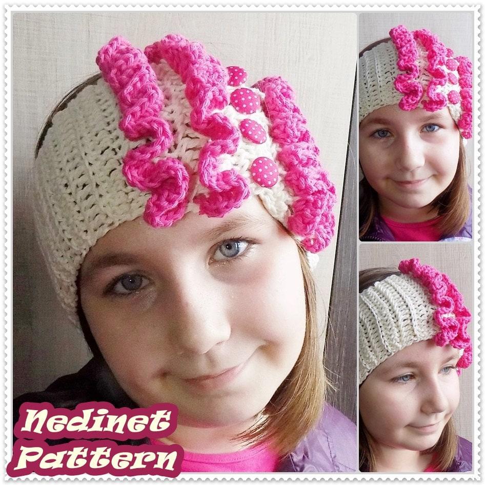 Crochet pattern, Frilly Crochet Headband pattern, Crochet Headband ...