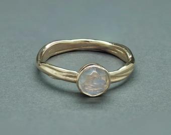 Rainbow Moonstone, 14k Yellow Gold Vine Engagement Ring.