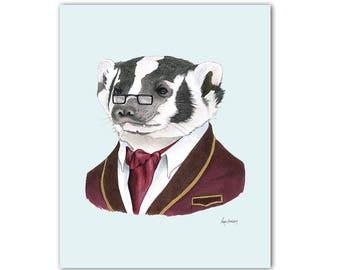 Badger art print by Ryan Berkley 8x10