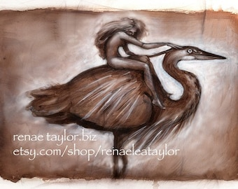 Heron Girl, Post Card by Renae Taylor