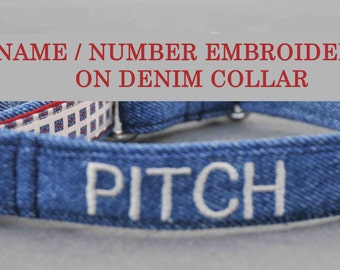 Personalized Custom Embroidery  on Recycled Denim Blue Jeans Dog Collar Name/Phone Number Small to Extra-Large Buckle or Martingale Collar