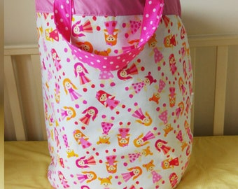 Fabric basket, Toy box, Basket for toys, Toy storage, fabric storage basket, laundry basket, storage bin, laundry bag, dolls print