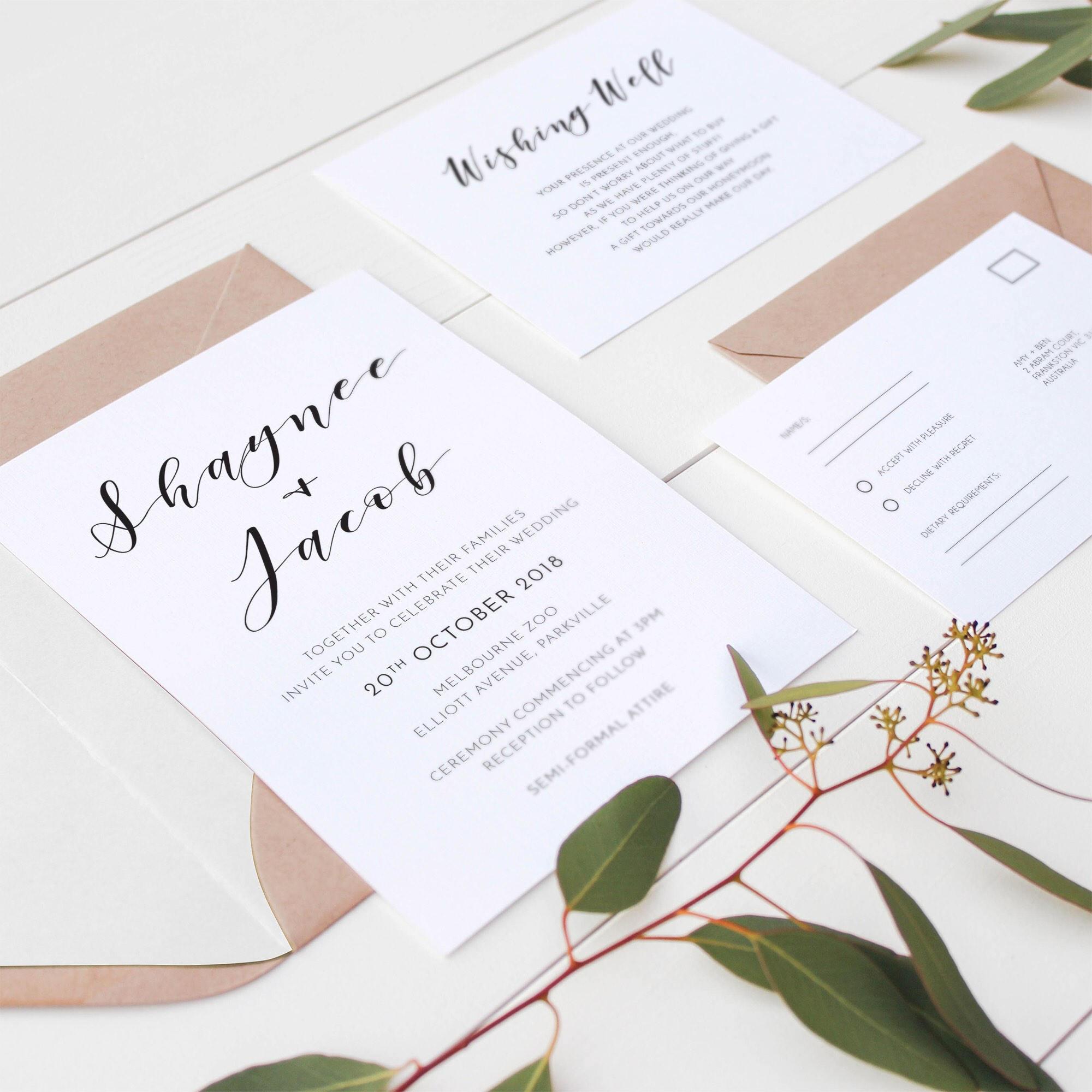 Printable wedding invitations monochrome simplistic zoom stopboris Choice Image