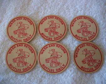 Lot of 6 Vintage Milk Caps Cardboard Paper Ephemera Scrapbook Milk Cap Collection