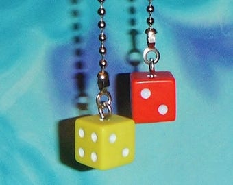 Set of Two ~ Dice Red Yellow Casino Lottery ~ Ceiling Fan Pull Chains
