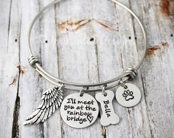 Charm Bracelet - Memorial Bangle - I'll Meet You At The Rainbow Bridge - Loss Of a Pet - Sympathy Gift - Remembrance - Pet Loss - Dog Loss