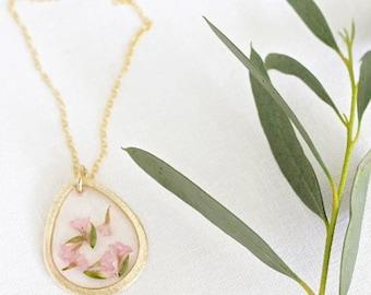 Light Pink Statice Flower Necklace