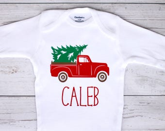 Christmas truck onesie | Personalized name, Christmas, boy onesie, truck onesie, my first Christmas, truck, Christmas tree, toddler shirt