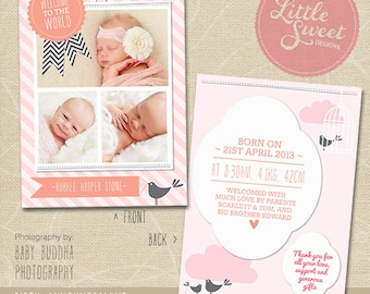 5x7 Birth Announcement Template (Baby Announcement) - Photoshop Template for photographers (BA6G) - INSTANT DOWNLOAD