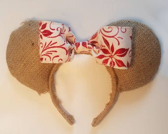 Burlap Holiday Themed Mouse Ears