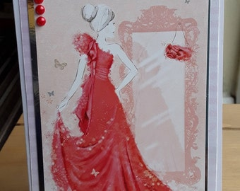 Greeting card Lady in pink dress