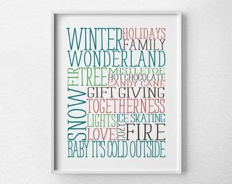 Christmas Prints, Christmas Poster, Christmas Subway Art, Holiday Decor, Holiday Print, Christmas Decor, Holiday Poster, Christmas Wall Art