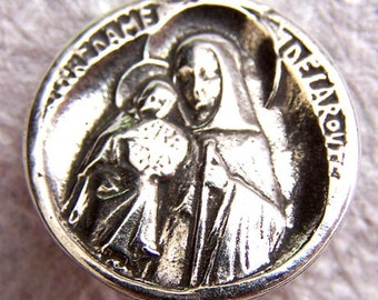 Our Lady of the Road Catholic Button Catholic Rosary Jewelry Supply Part