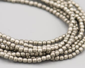 """Tiny Round Spacer Beads Antique Silver 320 -  2mm on a 22"""" Strand SKU-MRD2AS-125"""