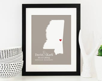 Mississippi State Map Art, Personalized State Map, Personalized Wedding Gift, One Year Anniversary Gift -  Print