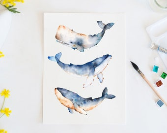 Whale print, Watercolor whale, ocean, sea life, wildlife, animal art, bathroom decor, wall art, original art print, coral reef, illustration