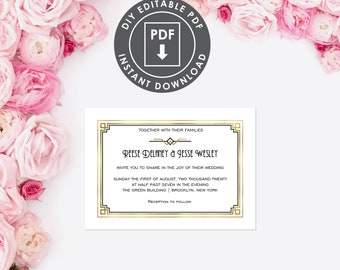 Art Deco DIY Wedding Invitation | Digital Wedding Set | Printable Template Gatsby Wedding Invitation | 1920s theme Wedding Template | 028